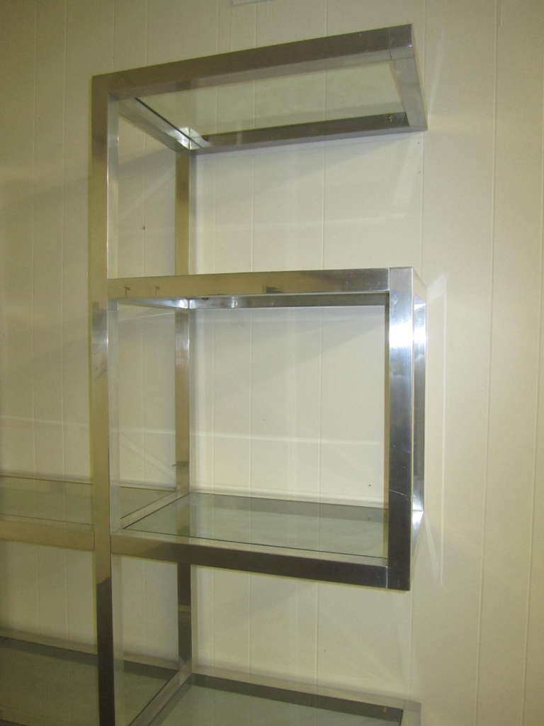 American Fabulous Chunky Aluminum Large Scale Etagere, Mid-Century Modern For Sale