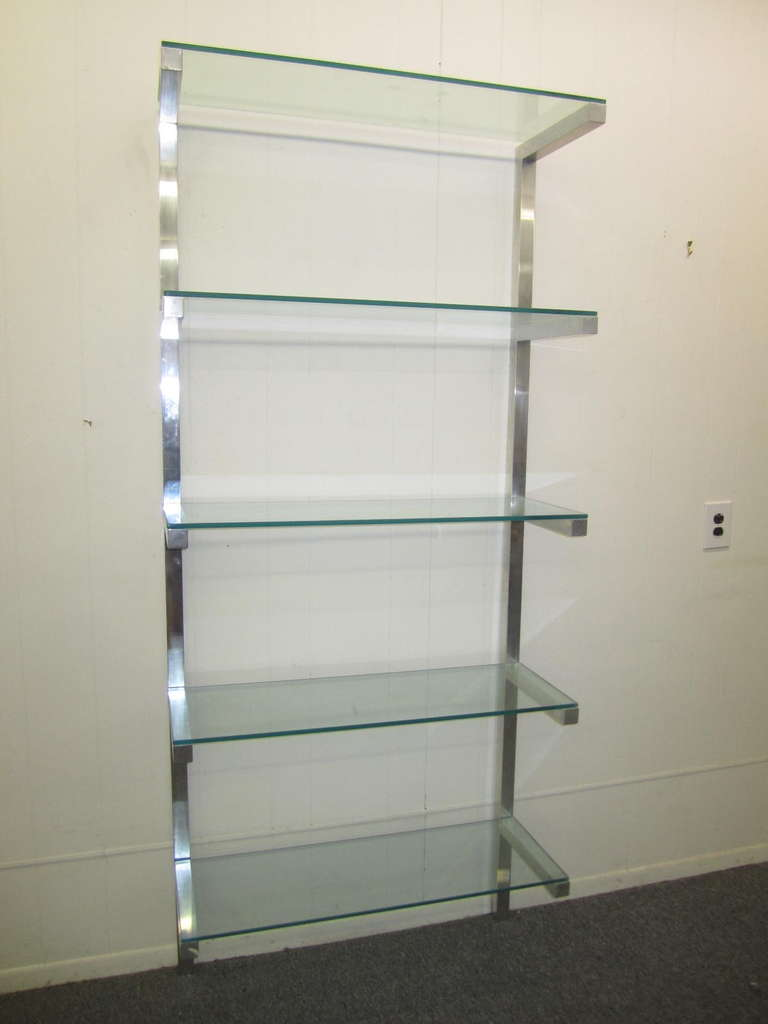 lovely pair of floating aluminum and glass shelves etagere mid century modern at 1stdibs. Black Bedroom Furniture Sets. Home Design Ideas