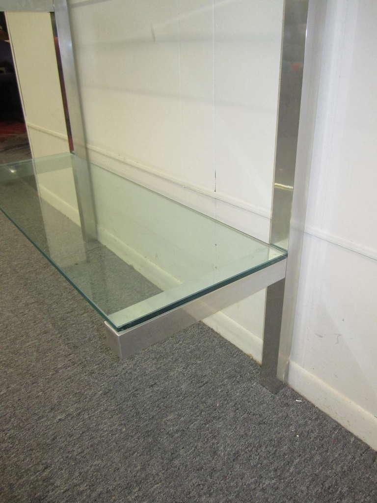 Lovely pair of floating aluminum and glass shelves etagere mid century modern - Etagere aluminium design ...