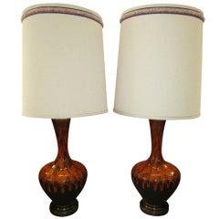 Pair Of Mid-century Modern Orange Drip Glazed Lamps Danish