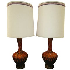 Pair Of Mid-century Modern Orange Drip Glazed Lamps Danish