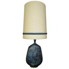 Outstanding Tall Rimini Blue Pottery Lamp Bitossi Raymor Mid-century Modern