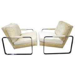 Pair Rounded Polished Steel Flat Bar Frame Lounge Chairs Milo Baughman