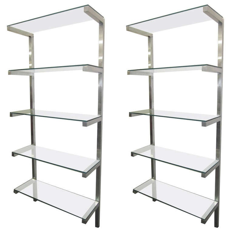 lovely pair of floating aluminum and glass shelves etagere mid century modern for sale at 1stdibs. Black Bedroom Furniture Sets. Home Design Ideas