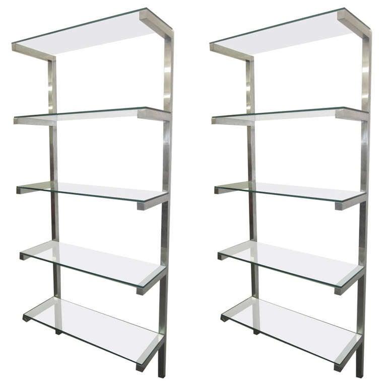 lovely pair of floating aluminum and glass shelves etagere. Black Bedroom Furniture Sets. Home Design Ideas