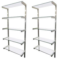 Lovely Pair of Floating Aluminum and Glass Shelves Etagere Mid-century Modern