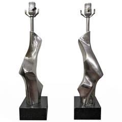 Fantastic Pair of Brutalist Sculptural Chrome Laurel Lamps, Mid-Century Modern