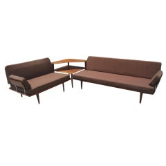 Peter Hvidt Danish Modern L-shaped 3 Piece Teak Sofa  Table