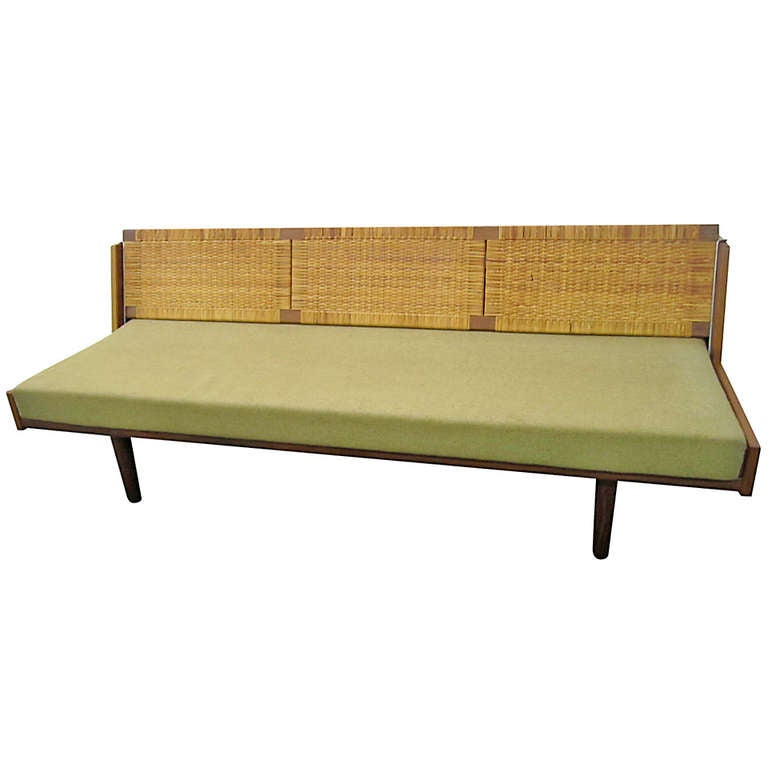 Fabulous Teak Rattan Daybed by Hans Wegner for GETAMA