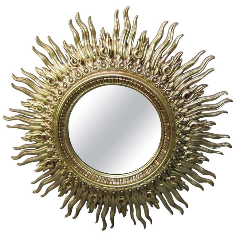 Huge Golden Starburst Mirror Regency Modern Mid-century