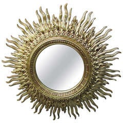 Huge Golden Starburst Mirror Regency Modern Mid-century