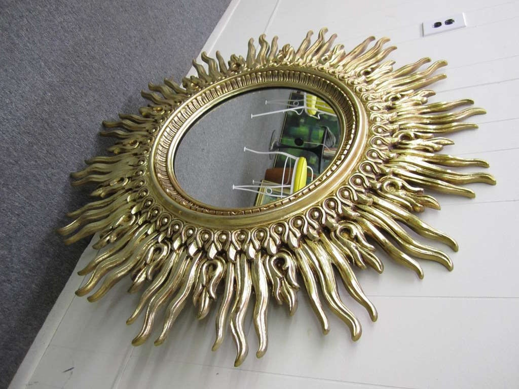 Outstanding And Large Scale Starburst Mirror Gorgeous Antiqued Golden Patina This Over The Top