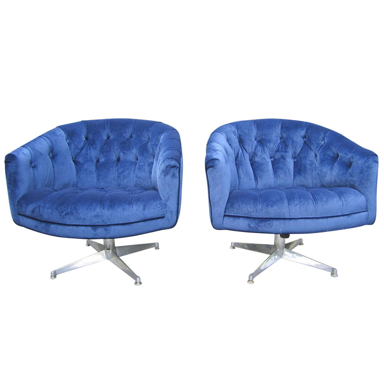 Excellent Pair Of Ward Bennett Style Swivel Club Chairs Mid Century Modern For