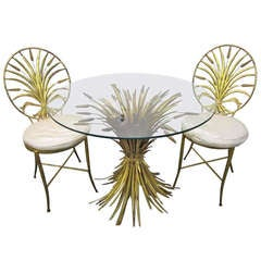 1960's Italian Gold Leaf Sheaf Of Wheat Chairs and Table by S. Salvadori