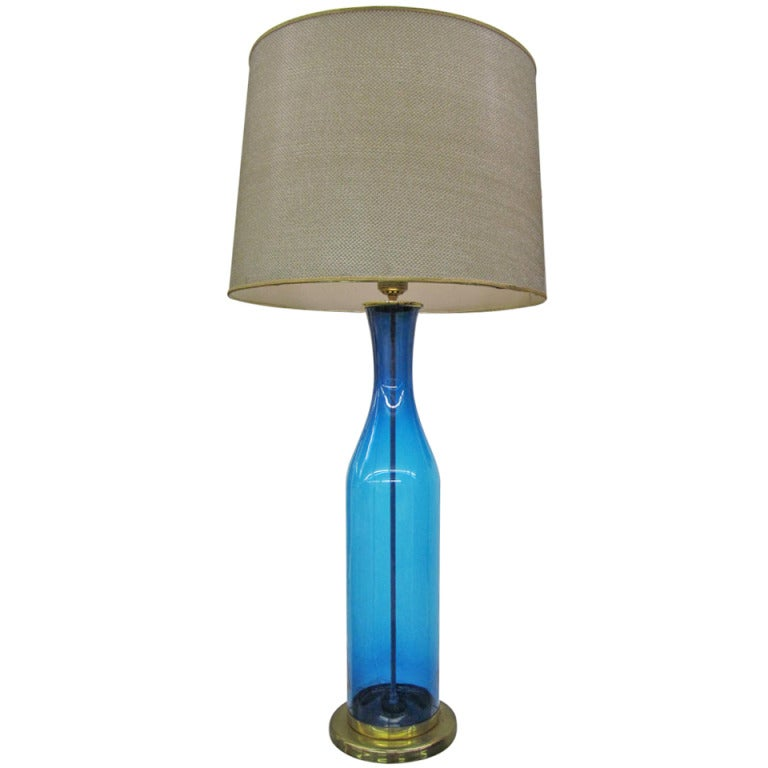 Huge blue blenko lamp with original gold mesh shade mid for Gold mesh floor lamp
