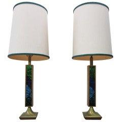Rare Pair Georges Briard Mosaic Glass Lamps Original Shades Mid-century Modern