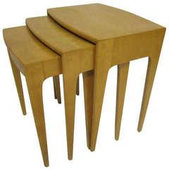 Rare Set of Heywood Wakefield Solid Maple Mid-Century Modern Nesting Tables