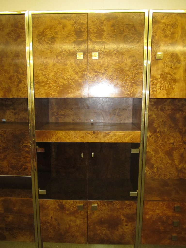 Four-Piece Mid-Century Modern Milo Baughman Style Burled Walnut Wall Unit 3