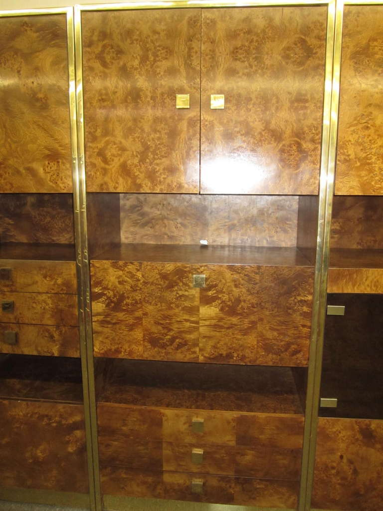 Four-Piece Mid-Century Modern Milo Baughman Style Burled Walnut Wall Unit 4