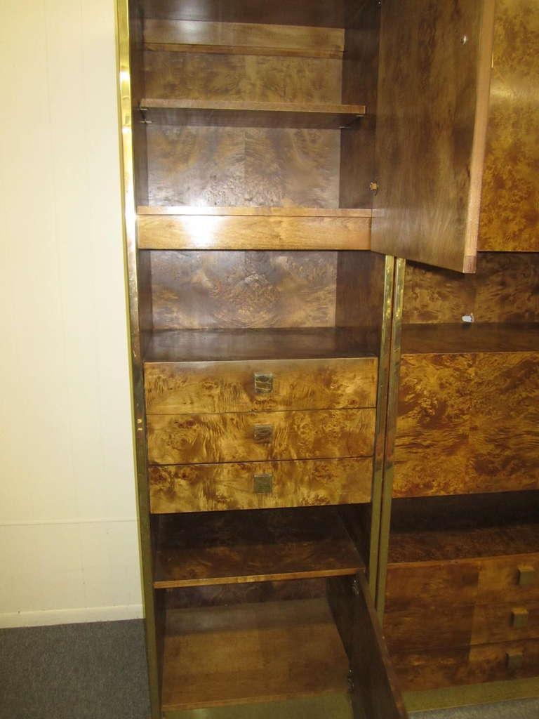 Four-Piece Mid-Century Modern Milo Baughman Style Burled Walnut Wall Unit 5