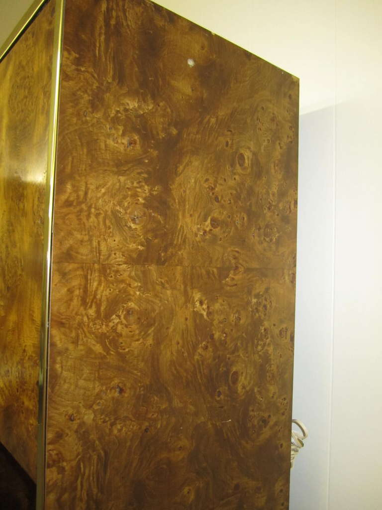 Four-Piece Mid-Century Modern Milo Baughman Style Burled Walnut Wall Unit 9