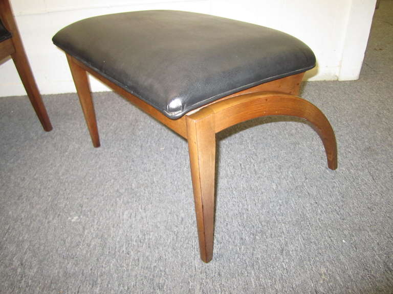 Mid Century Modern Rare Parallel Chair And Ottoman Barney