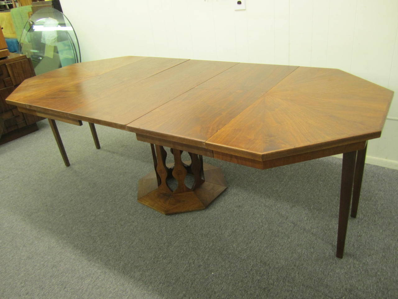 Probber style walnut octagon three leaf extension table for 3 leaf dining room tables