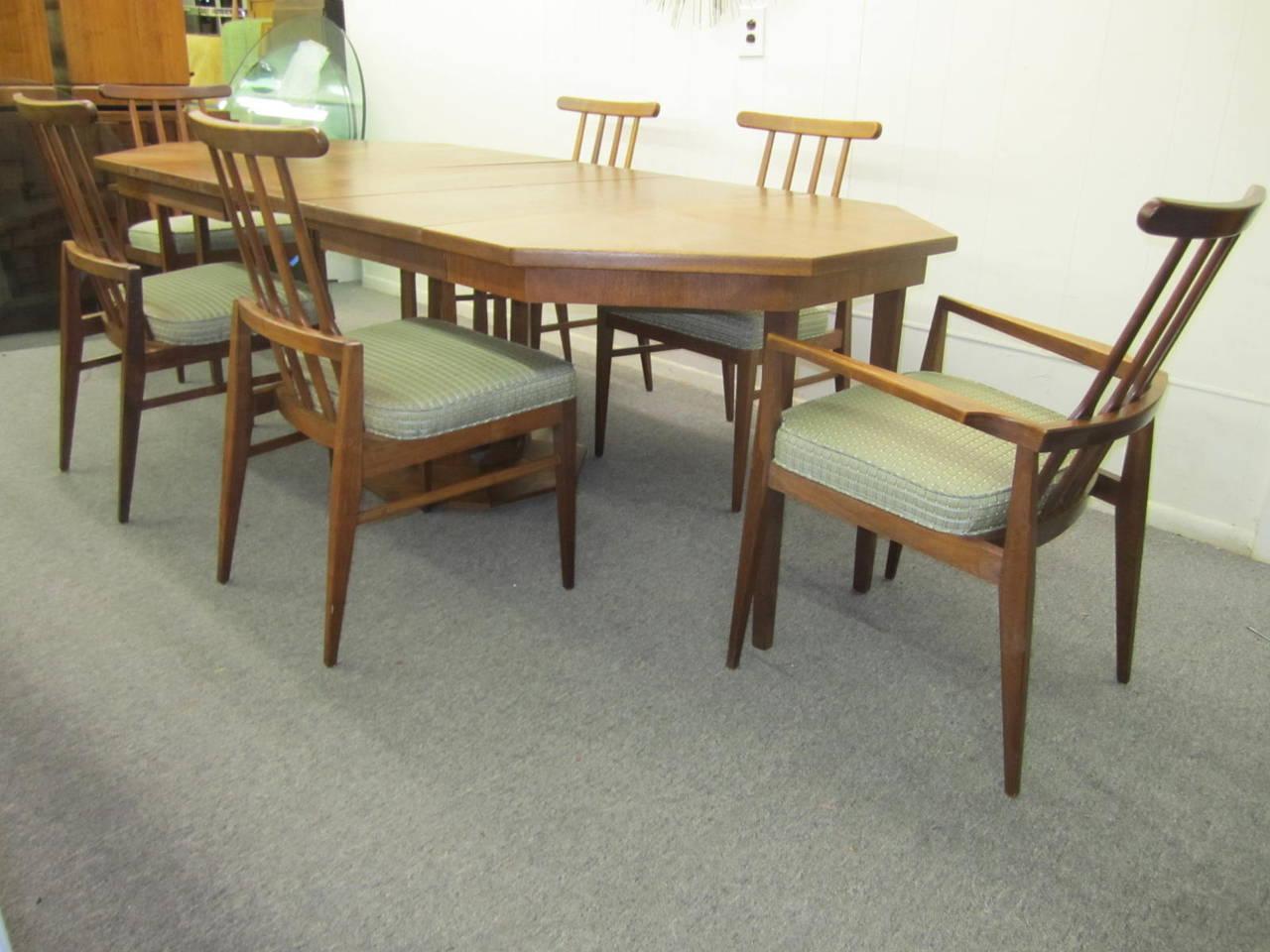 probber style walnut octagon three leaf extension table