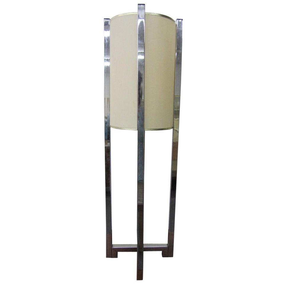 Large Paul Mayen Style Chrome Lamp Mid-century Modern