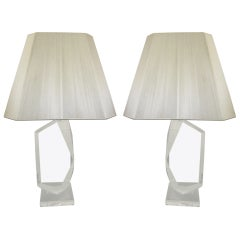 Stunning Pair of Mid-Century Modern, Faceted Lucite Lamps Signed by Van Teal