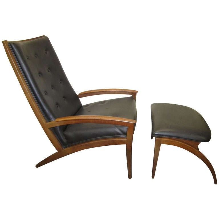 Amazing Mid Century Modern Rare Parallel Chair And Ottoman, Barney Flagg For Drexel  For Sale
