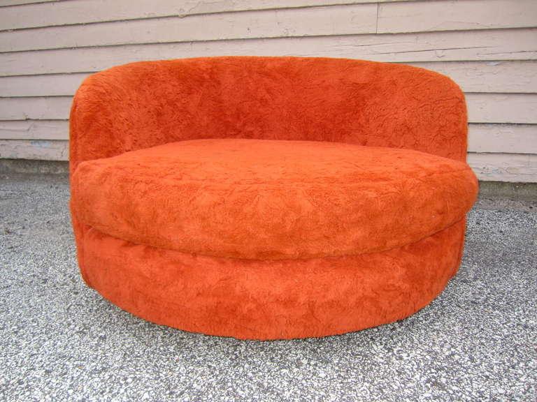 Milo baughman oversized round swivel lounge chair mid century modern