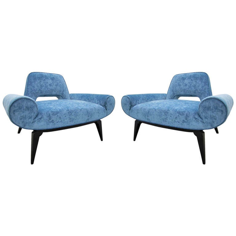 Amazing Pair of Grosfeld House Slipper Chairs Hollywood Regency Glam