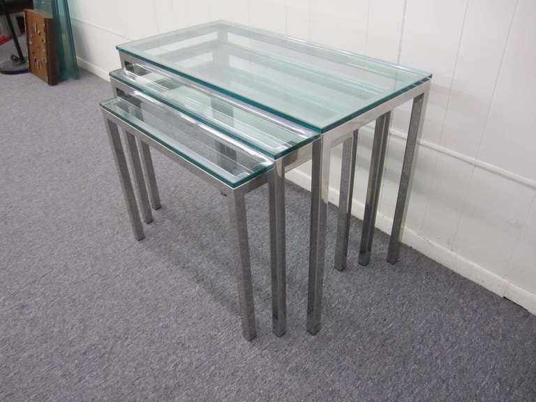 Set Of 3 Glass Tables: Set Of 3 Milo Baughman Chrome And Glass Nesting Tables Mid