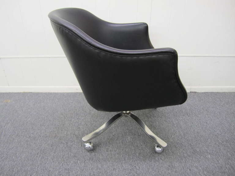 Nicos Zographos Black Leather Chrome Rolling Desk Chair Mid