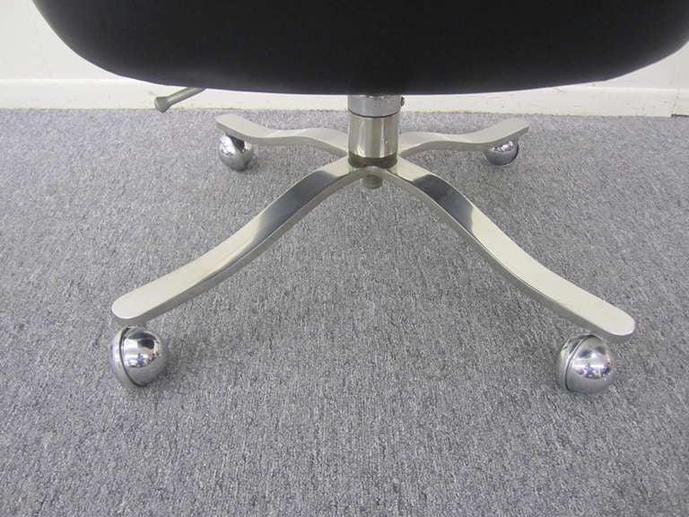 Nicos Zographos Black Leather Chrome Rolling Desk Chair Mid Century