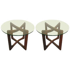 Mid-Century Modern, Sculptural Walnut and Glass Tables by Adrian Pearsall