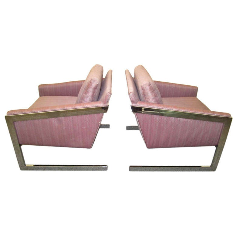 Magnificent Pair of Milo Baughman Angled Chrome Flat Bar Lounge Chairs, Midcentury