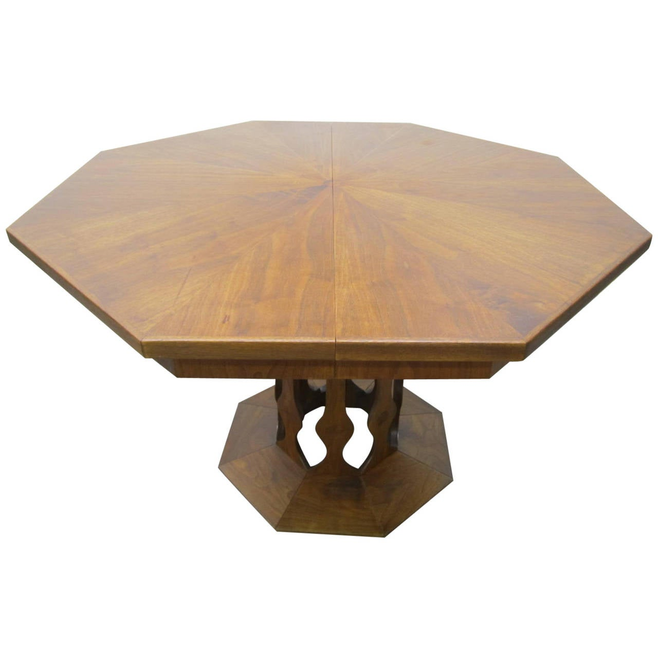 Probber Style Walnut Octagon Three-Leaf Extension Table, Mid-Century Modern For Sale at 1stdibs