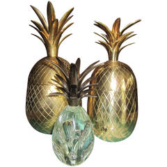 Set of Three Brass Pineapples Ice Bucket or Trinket Boxes, Mid-Century Modern