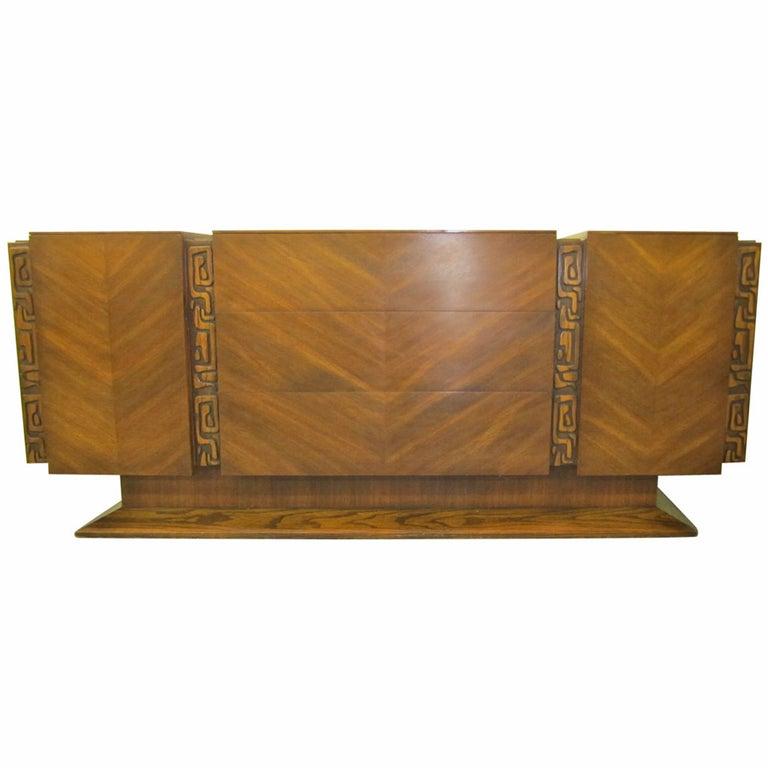 Paul Evans style Walnut Sculptural Credenza Mid-century Modern For Sale