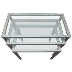 Set of 3 Milo Baughman Chrome and Glass Nesting Tables Mid-century Modern