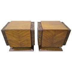 2 Paul Evans Style Sculptural Brutalist Walnut Night Stands Mid-century Modern