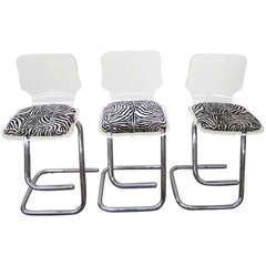 Glamorous Set of Three Lucite and Chrome Bar Stools Mid-Century Modern