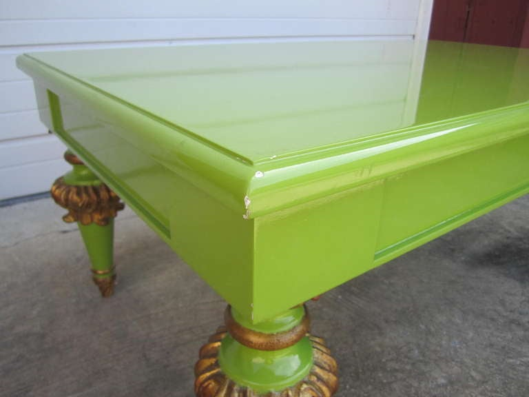 American Outrageous Hollywood Regency Lacquered Lime Green and Gold Coffee Table For Sale