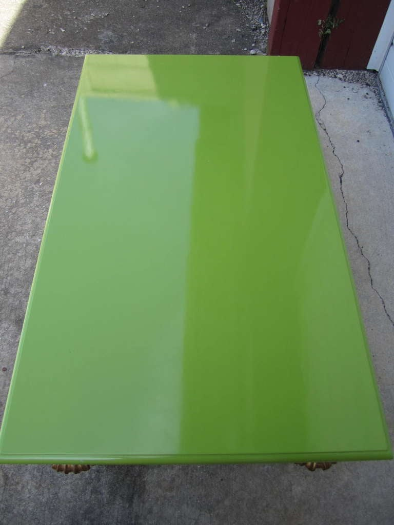 Outrageous Hollywood Regency Lacquered Lime Green and Gold Coffee Table In Good Condition For Sale In Medford, NJ