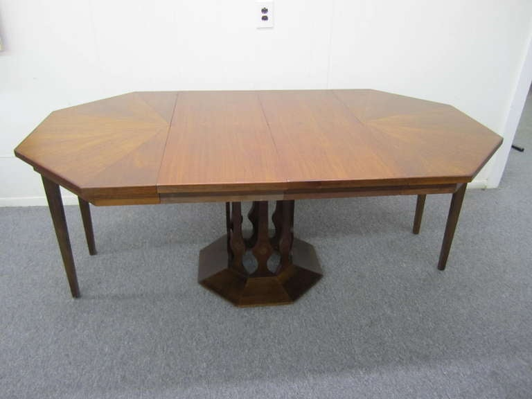 probber style walnut octagon extension table 2 leaves mid