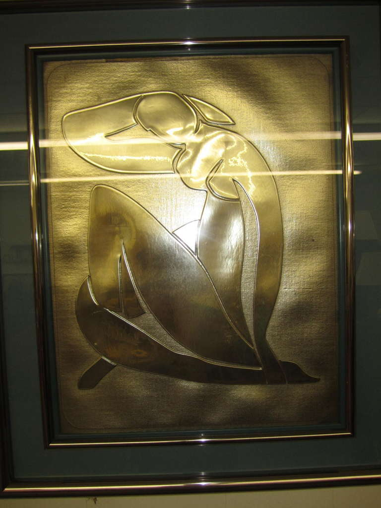 Lovely Matisse Inspired Metallic Gold Embossed Wall Hanging For Sale 2