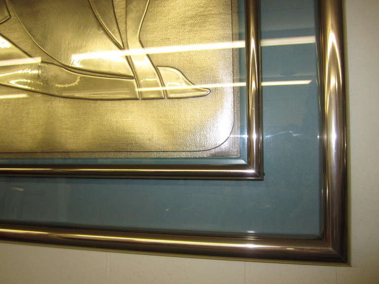 American Lovely Matisse Inspired Metallic Gold Embossed Wall Hanging For Sale