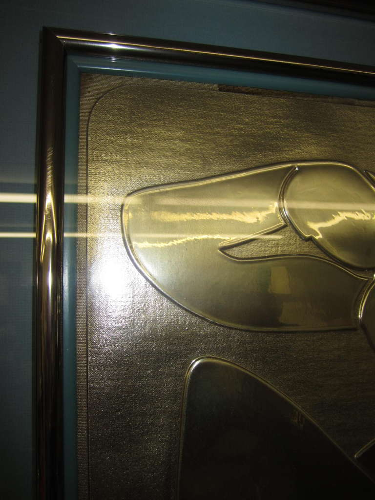 Late 20th Century Lovely Matisse Inspired Metallic Gold Embossed Wall Hanging For Sale